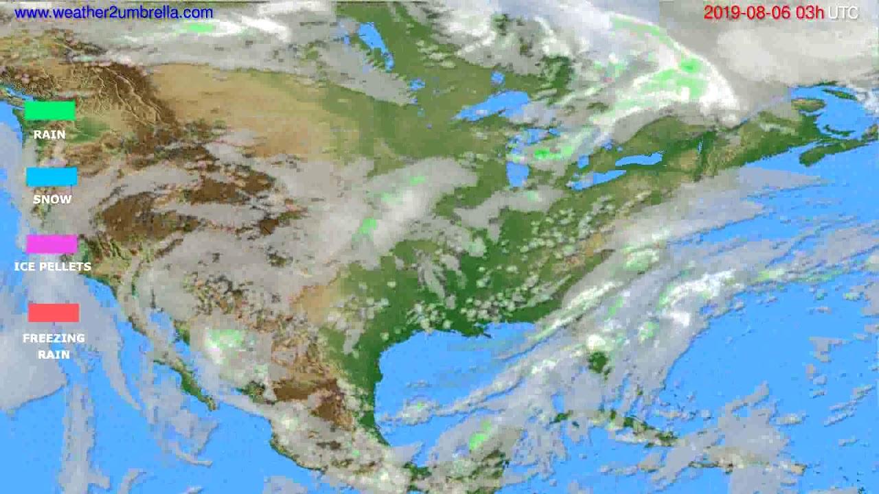 Precipitation forecast USA & Canada // modelrun: 00h UTC 2019-08-03
