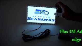 www.eternityledglow.comIf you are a proud loyal Seattle Seahawks fan and want to show it, so you must have this cool light up Seattle Seahawks car sticker gadget!The Seattle Seahawks Light up EL car sticker decal is so amazing because it's not like a regular car sticker that you can see only at day light, with this light up car sticker decal you can show your team spirit also at night, its very bright and eye catching, gives your car a beautiful glowing look that everyone will know what a football team you support.The Seattle Seahawks Light up EL car sticker decal has 3 lighting mode:  1) steady light 2) flash and 3) off. Our car sticker works on EL (Electroluminescence) technologies for low power consumption and longer lifetime. The light up Car sticker comes with 12V vehicle Cigarette Lighter Power Adapter and 10 foot long cable, the electroluminescent panel have 3M Adhesive tape on the edge of the panel that you can stick it easily to the car window.The Installation is very easy and simple just plug the 12V Vehicle Cigarette Lighter Power Adapter to the Cigarette Lighter Socket and stick the EL panel sticker on the car window turn it on and support your team.-Shipped From USA Seattle WA– Delivery 2-5 Business Days-EL Sticker Panel Size: 7.75 inches Length X 4.63 inches Height-The light up Car sticker looks amazing at night and gives your car a stunning glowing look perfect way to show you are Seahawks fan day and night! GO HAWKS-Our car sticker works on EL (Electroluminescence) technologies for low power consumption and longer lifetime-3 lighting mode: 1) steady light 2) flashes 3) off-Suitable for any car that have Cigarette Lighter Socket-The light up Car sticker comes with 12V vehicle Cigarette Lighter Power Adapter and 10 foot long cable-The electroluminescent panel has 3M Adhesive tape on the edge of the panel that you can stick it easily to the car window