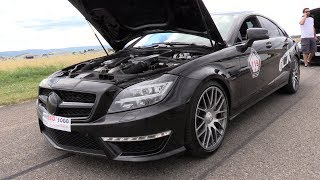 During the SCC500 Rolling50 1000 I have filmed this BRUTAL Mercedes-Benz CLS63 AMG (THE T-REX) by LA-Performance. La Performance changed all the software, new exhaust system and Ice Cooling and produce now 880HP! You will hear some loud revs, see some cool drifts and doing some dragracing! I hope you will enjoy the video.VMAX After 1000 meter with Rolling start of 50 km/h: 280.99 km/h!Feel free to hit the 'thumbs up' button if you like the video! Make sure that you follow me on YouTube and subscribe to my supercar channel for the latest videos!BE SURE AND WATCH THIS VIDEO IN 1080p HD 50FPS QUALITY!Facebook: http://www.fb.com/cvdzijdenInstagram: https://instagram.com/cvdzijdenThanks for watching!Ciao, Chris /CvdZijden