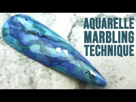 Acrylic nails - Marbled Aquarelle nail using Acrylic Paints