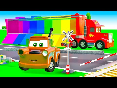 Super Cars for kids Mack Truck Cars build Railroad Crossing. Learning Videos for Children with Cars