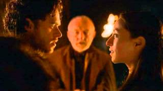 "The marriage between Robb Stark and Talisa in game of thrones. Another beautiful scene in this superb adaptation of the books.This scene is from Season 2 Episode 10, ""Valar Morghulis""(finale) of Game of Thrones.I do not own this video clip and all rights go to HBO."
