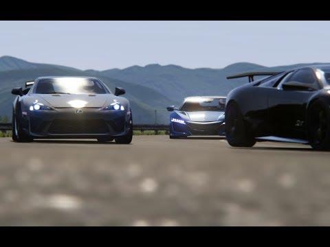 Battle Honda NSX '15 vs Lexus LFA Nurburgring Edition vs Lamborghini Murcielago LP670-4