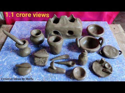 Primitive technique make handmade kitchen set with clay||miniature clay kitchen set||kitchen tools