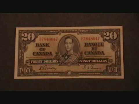 Canadian money 1937 $1-$50