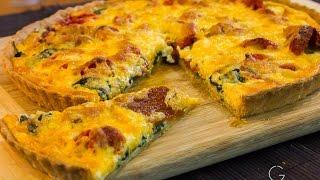 Tarta de jitomate deshidratado, queso y espinaca