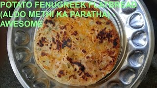 POTATO FENUGREEK FLATBREAD (ALOO METHI KA PARATHA) - FOR BEGINNERS (AWESOME TASTE)STEP 1 : MAKE THE POTATO (ALOO) MIXTURE READYTake the required amount of potatoes for the required amount of parathas.  Wash the potatoes in a container thoroughly.  Put the washed potatoes in a cooker or appropriate vessel and fill it with water till the potatoes are submerged in water.  Add the appropriate amount of saltMix the salt in the water.  Cover the cooker or appropriate vesselHeat the cooker or appropriate vessel on the LPG Stove on a high flame (if using cooker, without the weight valve)If using a cooker then wait for the steam to come out from the top and when it does, put the weight valve onIf using a cooker wait for four whistles to come out from the topIf using a cooker, after the fourth whistle switch off the LPG Stove and let the steam reduce inside by keeping the cooker aside for 10-20 minutesTo test the softness of the potatoes you can poke the potatoes with a knife if using a open vessel (not cooker)After 20 minutes we are going to open the cooker and remove the potatoes in a bowl and peel the potato skinIf the potatoes are hot, wait for them to cool down and then peel themThe potatoes are cool, peel themAdd the appropriate amount of salt, red chilli powder, 2-3 chopped green chillies, some coriander and finally add half a lemon.  The lemon makes the parathas really tastyMash and mix the ingredients and potatoes evenly__________________________________________________________________________________________________________________________________________________________________________STEP 2: MAKE THE FLOUR (ATTA) MIXTURE READYTake wet fenugreek (Methi) or dry fenugreek (Methi) as shown and boil it in hot water for 1-2 minutesTake the required amount of flour and add the boiled methi as shown.  Add some salt and knead the atta+methi by adding the required amount of water appropriatelyAdd some ghee after kneading as shown__________________________________________________________________________________________________________________________________________________________________________STEP 3: MAKE THE ALOO KA PARATHASMake the flour balls as shownFollow the instructions as shown.  Use a non-stick fry pan.  Pre-heat the non-stick fry panDepending on the non-stick fry pan heat, heat the parathas for 90-120 seconds on each side.After one side is heated accordingly, turn it around and add ghee on the top.After the other side is heated accordingly, turn it around and add ghee as shownRemove the paratha from the non-stick fry panAdd sugar in some curds and you can have the aloo ka paratha with itHave a good day! If you found the video helpful and tasty, please hit the like button and subscribe.  Thank you