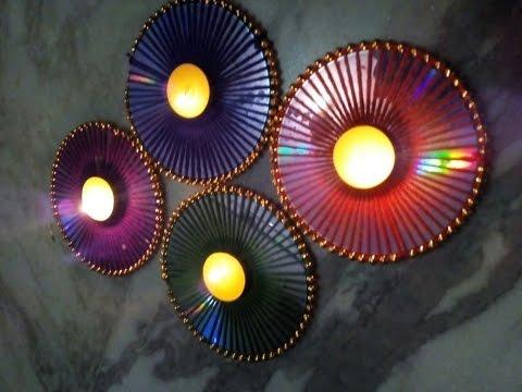 Diwali decor idea using old CD/ Multipurpose decor /Recycled craft/English subtitles