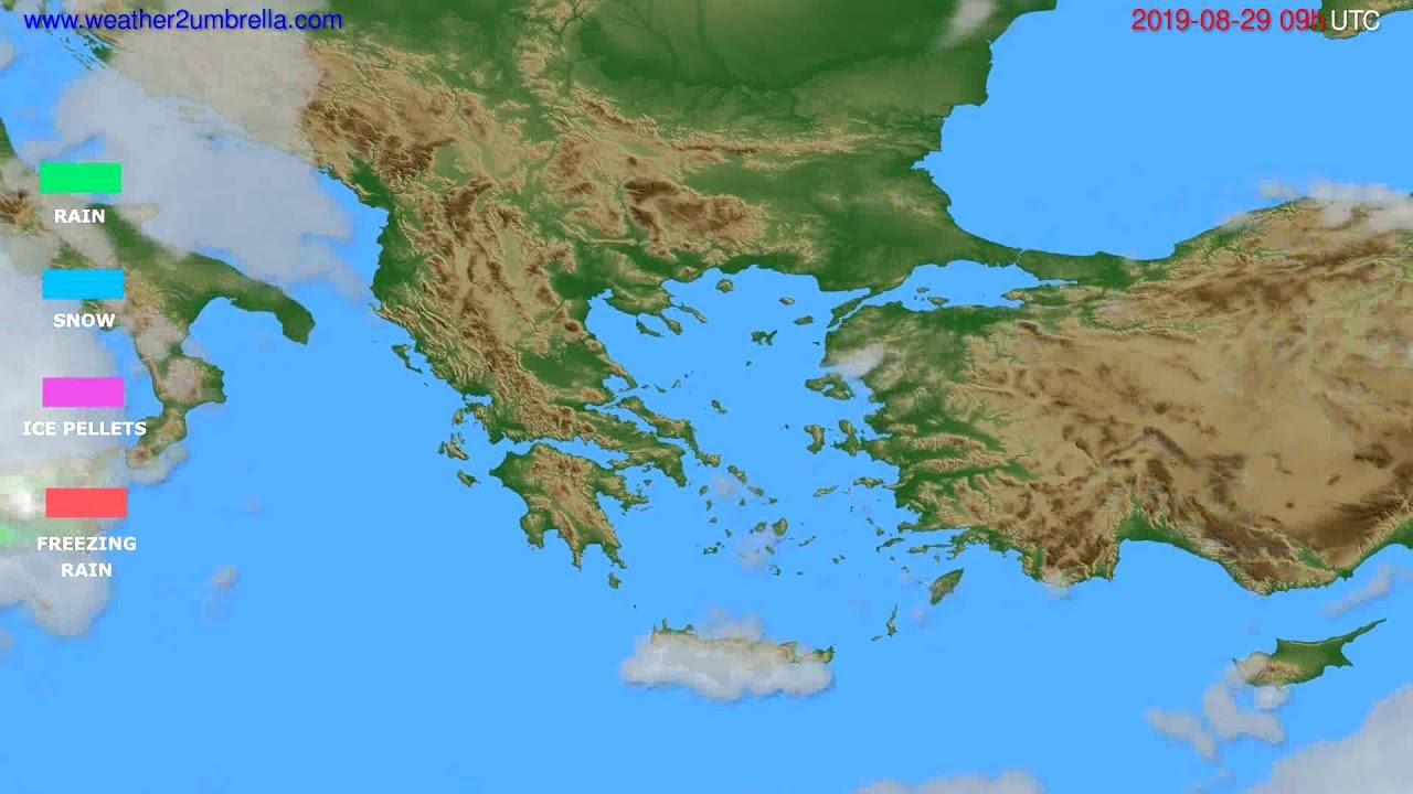Precipitation forecast Greece // modelrun: 12h UTC 2019-08-27