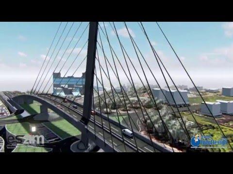 InfoDesign-Studio Pont à haubans Sidi Maarouf en 3D, Casablanca - Maroc