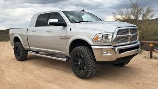 """We take the 2015 RAM 2500 6.7L Cummins offroad on some trails and have some fun in the dirt with donuts. The truck has a Pro Comp leveling kit, 35"""" Toyo Open Country MTs and Fuel Hostage wheels. The truck is completely stock under the hood."""