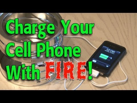 PHONE - Check out this amazing way to charge your cell phone...with FIRE! Great for emergencies or camping! Charge your cell phone with a flashlight: http://www.yout...