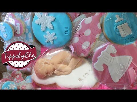 Plätzchen mit Fondant Part 2 Eiskönigin Plätzchen Baby Plätzchen mit Fondant überziehen Anleitung