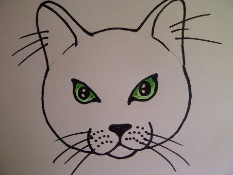 Katzengesicht zeichnen. Katzenkopf zeichnen. Katzenauge zeichnen