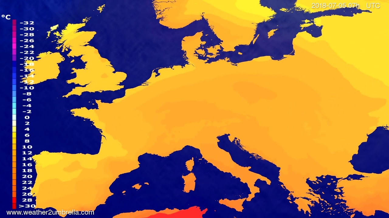 Temperature forecast Europe 2018-07-01