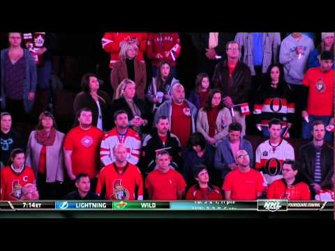 HNIC memorial ceremony w 2 other rinks. New Jersey Devils vs Ottawa Senators Oct  24 2014 NHL hockey