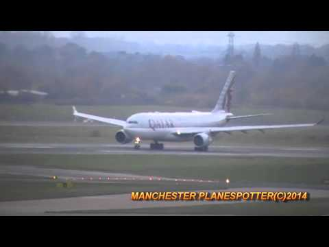 Qatar Airways Airbus A330 A7-ACJ On QR24 Taking Off At Manchester Airport On 16/11/2014
