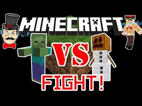 Minecraft 1.9 SNOW GOLEMS vs ZOMBIES Mob Battle ! Snowmen House Defense Test !