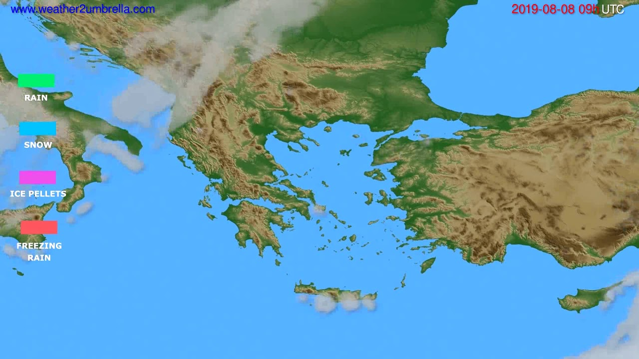 Precipitation forecast Greece // modelrun: 12h UTC 2019-08-06