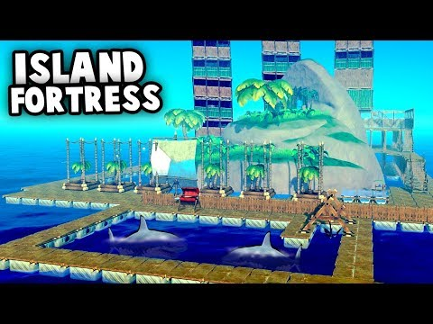 HUGE Island FORTRESS Vs SHARK Attack! (Raft 2018 Gameplay)