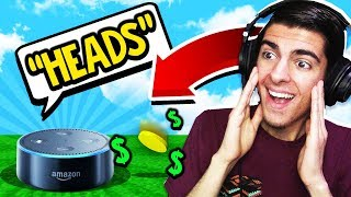 I let Amazon Echo decide HEADS or TAILS and it made me RICH! (Minecraft Skyblock)