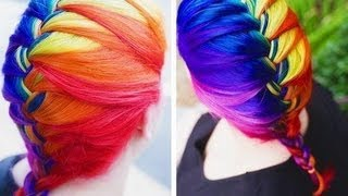 "Rainbow ""Ombre Inspired"" hair tutorial - YouTube"