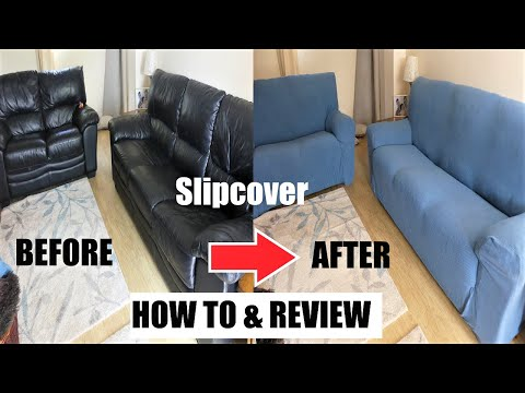 HOW TO SLIPCOVER A SOFA & LOVE SEAT QUICK & EASY REVIEW ELASTICATED STRETCH SOFA COVER INSTALLATION