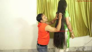 Big Bun Grabbing with Below Knee Length Sensual Hair Play by Man