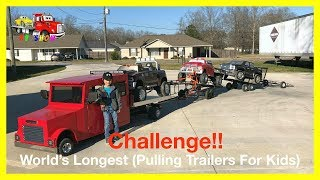 World's Longest Trailers Pulling Challenge! Powered Ride on Trucks and Mini Rollback For Kids
