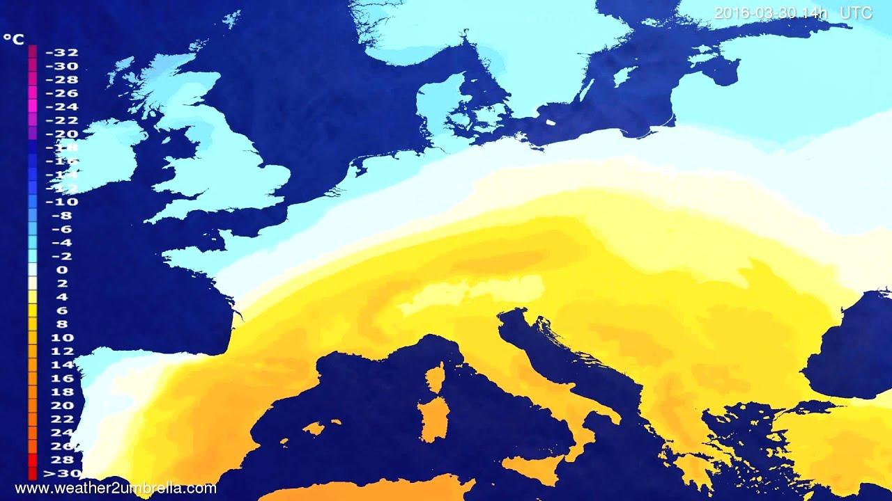 Temperature forecast Europe 2016-03-26
