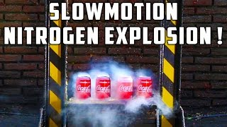 In this video we are smashing Coca Cola Soda cans filled with liquid nitrogen.Consider to give this video a 'thumbs-up' if you liked it! It's a litlle click for you, but a big reward for us :)Thanks !In this video we use our kinetic press which we named 'EarthQuake'. The reason for that is because you can actually feel a little earthquake when the weight hits the bottom. You can also see the camera's move when the weight hits the bottom.The press is 5m high and has a combined weight of aprox 2500kg or 5500lbs. The middle piece is packed with custom made lead ingots and has a total weight of aprox 750kg or 1650lbs.We installed this press in the garden of my parents house because they don't have any neighbours that might be disturbed by this device :) If you have any ideas which you want to see smashed by our kinetic press just write them in the comments below. And if you see any good ideas that are allready posted by someone else please give them a 'like' so they will go to the top comments. I will sure check out the top comments for good ideas :)If you have any more questions feel free to ask them in the comments.On our Facebook page you can find some pictures from the past few weeks when we were building the kinetic press : http://bit.ly/PressTubeFaceBookThe slowmotion camera we used is a IDT slowmotion camera which we purchased from this website : http://bit.ly/IDT-SlowMoCamsPlease do not try this at home because this can cause serious injury ! We do these kinds of things do you don't have to ;)For collaborations or questions please use following e-mail : presstube@telenet.be