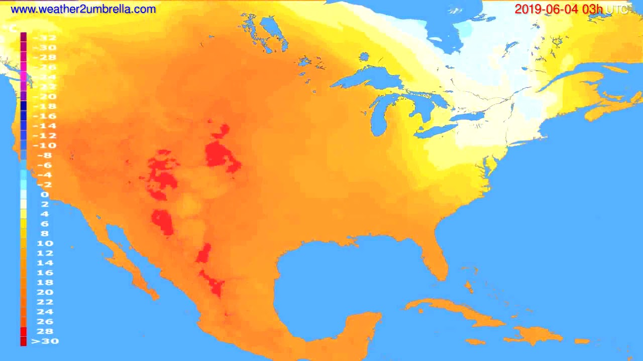 Temperature forecast USA & Canada // modelrun: 00h UTC 2019-06-01