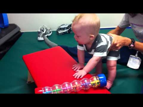 Watch video Down Syndrome Noah takes his first steps to standing tall