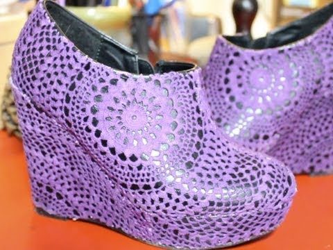 DIY Doily Wedge Shoes