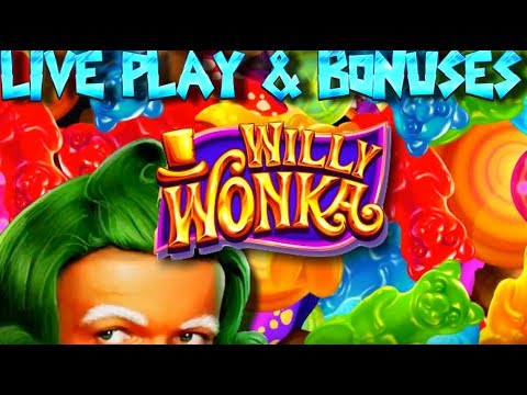 Live play on Willy Wonka Slot Machine with Bonuses and Big Win!!!