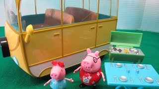 """In this video I open and play with Peppa Pig's Campervan Playset. This playset comes with a campervan, barbeque grill, table with folding legs, Daddy Pig and Peppa Pig. Since this set only has Daddy Pig and Peppa Pig, I bring in Mummy Pig and George from another playset. Then Peppa Pig and her family set out for a day of camping where they meet with Princess Sofia The First and invite her to lunch.Check out my other fun toy videos:Unboxing 5 Pack Shopkins Small Mart with Hidden Shopkin""""http://youtu.be/EgpZleCzmj8""""Unboxing and Playing Spiderman Villain Showdown""""http://youtu.be/ythIXRIWyU4""""Opening 8 Transformers Rescue Bots Playskool Heroes""""http://youtu.be/Yc03l9Z8H-c""""Review of Bumblebee Transformer Rescue Bot Playskool Heroes""""http://youtu.be/zAk83z3iNrk""""Playing Disney Sofia The First Forest Playset""""http://youtu.be/9gYcPLm6QiI""""Opening Shopkins 12 pack Shopkins Small Mart""""http://youtu.be/_JW85iERzb8""""Watch Assembling and Playing the Design And Drift Speedway Track Set With Micro Drifters Lightning McQueen and Dinoco Cars""""http://youtu.be/AEhokIcYRGU""""Unboxing Disney Fairies Tink's Bling Boutique with Tinker Bell""""http://youtu.be/ccYSH2YIkj4""""Unboxing Doc McStuffins Doctor's Bag Set""""http://youtu.be/qtxCtPUX6kw""""Unboxing the Play Doh Doctor Drill 'n Fill Toy""""http://youtu.be/D_yyhWqTNr0""""Shopkins 5 Pack With Hidden Shopkin Opening""""http://youtu.be/GSeBRWffKFg""""Playing Disney Princess Palace Pets Pamper and Beauty Salon""""http://youtu.be/6WMJEdnfqkM""""Opening 4 Blind Pack Surprise MashEms from Disney Pixar Movies""""http://youtu.be/HwTwORxqrQ4""""Playing Stunt Racers Mater, Lightning McQueen, Jeff Gorvette""""http://youtu.be/le-5UyhJqw4"""""""