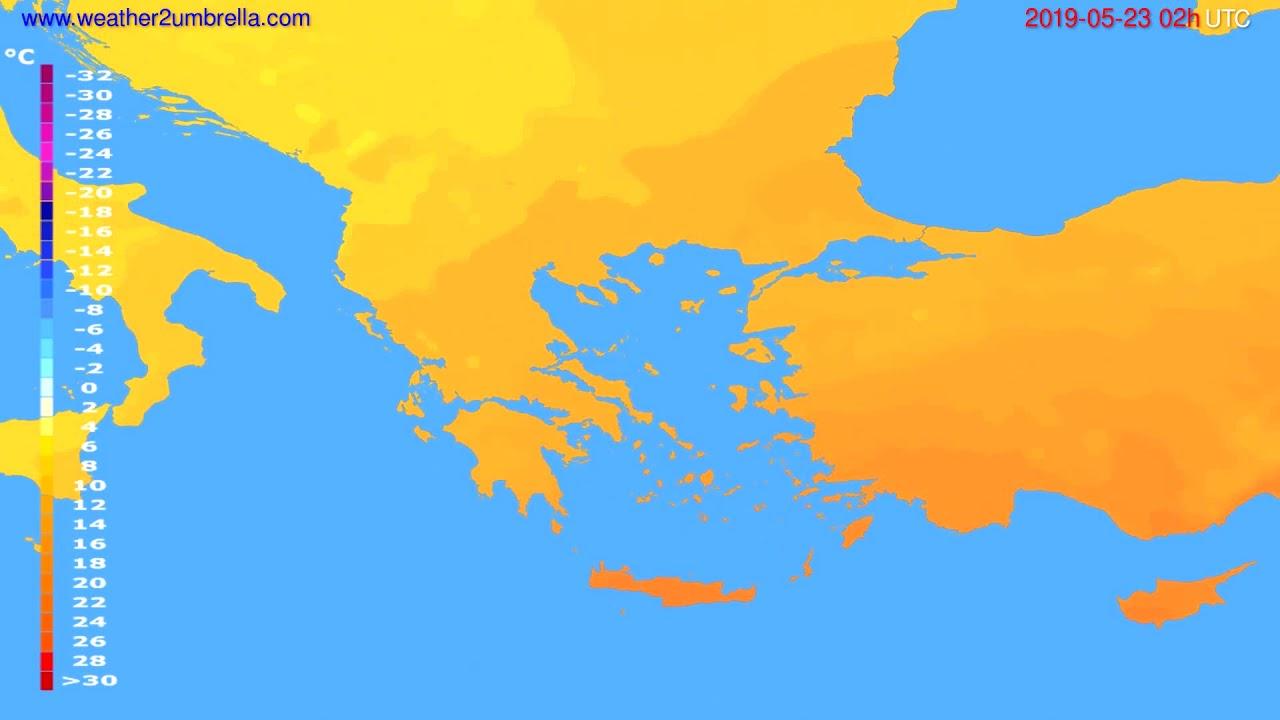Temperature forecast Greece // modelrun: 12h UTC 2019-05-20