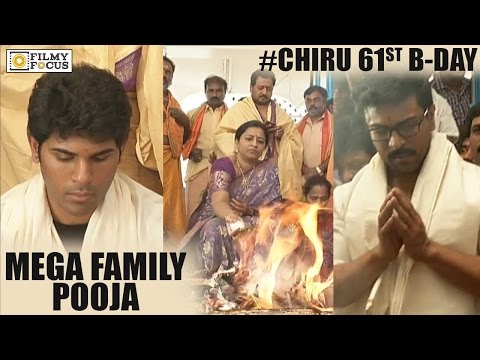 Ram Charan and Mega Family Offering Prayers on Chiranjeevi 61st Birthday
