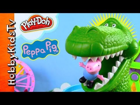 Peppa Pig Sells Toys! Giant Rex Dino, Play-Doh Balloon, Fair Park by HobbyKidsTV