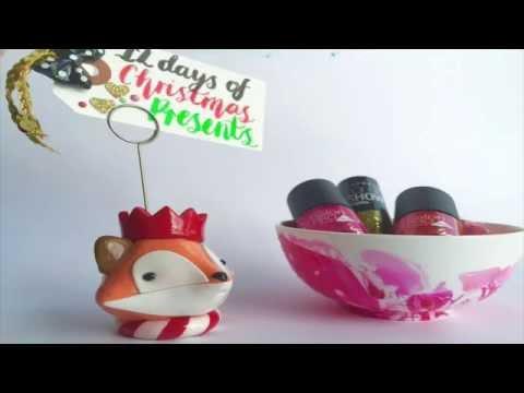 12 Days of Christmas Presents ~ DAY 5 ~ Nailpolish Marbled Dish (видео)