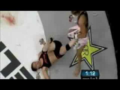 Cyborg - Shayna Baszler vs Cristiane Cyborg fight in EliteXC Gina Carano at the end http://www.armchairmma.com.