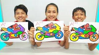 Spiderman Naik Motor, Warna Warni Belajar Menggambar dan Mewarnai untuk Anak