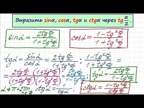 Синус и косинус через тангенс половинного угла. Тригонометрия-15 - Смотреть онлайн самые популярные топ видео YouTube - Youtube