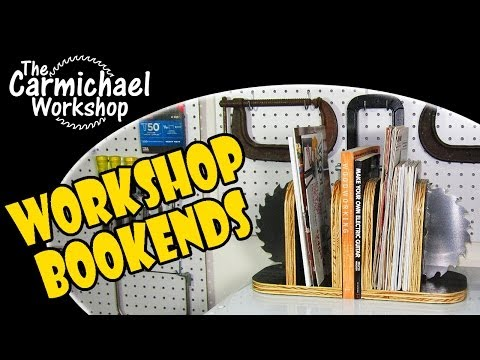 woodworking - http://www.thecarmichaelworkshop.com These Workshop Bookends were made from scrap plywood and an old saw blade. Each bookend has a storage space for magazine...