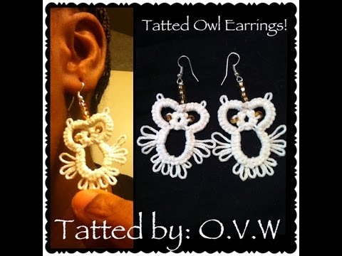 tatting – owl earrings