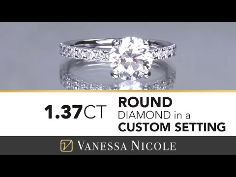 1.37ct SOLITAIRE DIAMOND ENGAGEMENT RING |  Pave Diamond Engagement Ring | Vanessa Nicole Jewels