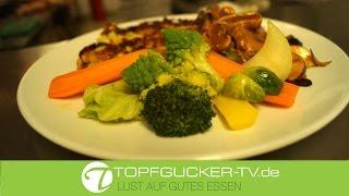 Geschnetzeltes aus dem Filet vom Eichelschwein mit Kartoffelrösti und Herbstgemüse