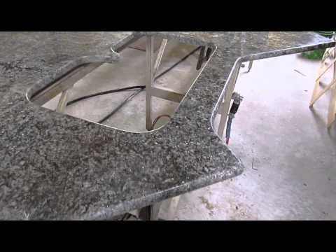 Azul Aran Granite Countertop In Fabrication Process