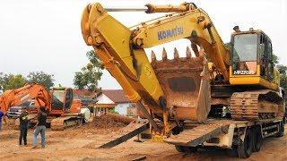 Video Loading Transporting The Broken Down Excavator Komatsu PC300 By Self Loader Truck Isuzu Giga FVZ 285 MP3, 3GP, MP4, WEBM, AVI, FLV Desember 2018