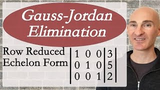 Learn how to use Gauss-Jordan Elimination row reduced echelon form to solve systems of equations in this free math video tutorial by Mario's Math Tutoring.Looking to raise your math score on the ACT and new SAT? Check out my Huge ACT Math Video Course and my Huge SAT Math Video Course for sale athttp://mariosmathtutoring.teachable.comFor online 1-to-1 tutoring or more information about me see my website at:http://www.mariosmathtutoring.com